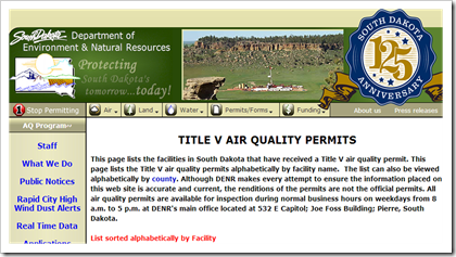 South Dakota Department of Environment and Natural Resources Title V Air Quality Permits