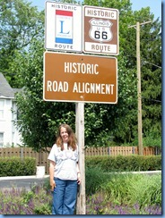 4618 Illinois - Plainfield, IL - Lincoln Highway - Karen at sign for 3 block alignment of Lincoln Highway and Route 66