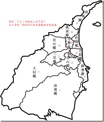 宜蘭縣人口數2014