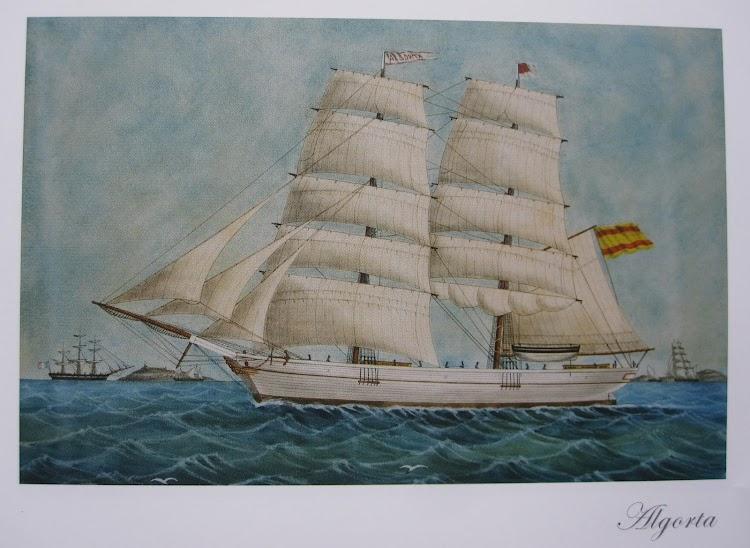 Cuadro pintado por J. Barneda que muestra al bergantin ALGORTA. Propiedad de Jose Mª Hormaza Igartua. Foto cedida por el Museo de Plentzia.JPG