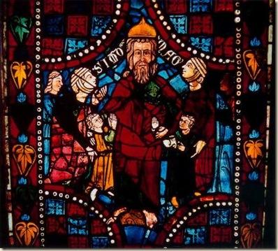 Escenas de la vida de San Clemente. Simón el Mago. Anónimo del siglo XIII
