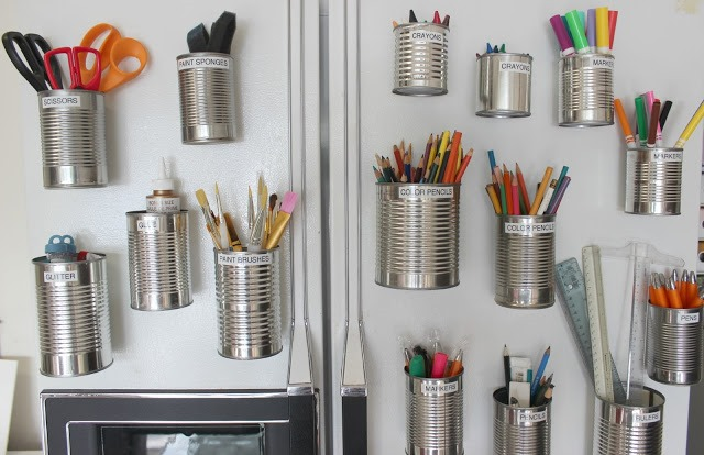Use cans to organize art supplies 1