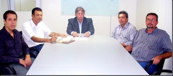 Secretário de imprensa Rafael Machado; Secretário Geral Dario Almeida; Secretário de Estado Jadir Péla; Presidente da Atecnólogos Miotto e Miguel Madeira do Conselho Deliberativo.