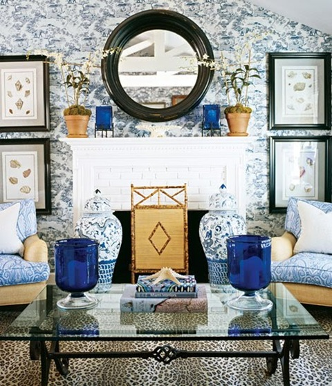 blue and white living room with bamboo fire screen