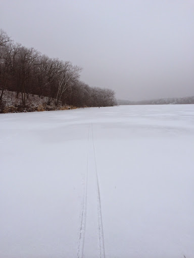 Just enough snow on lake to double pole ski. Too loose for skating.