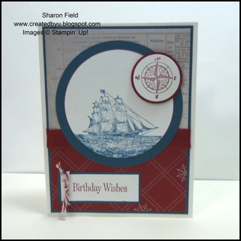 The Open Sea, Summer Mini Catalog, Created By You, Online Store, Stampin' Up!, Created By You, Bakers Twine, masculine cards, schooner, big shot, embossing, square lattice textured embossing folder, Cherie Franklin