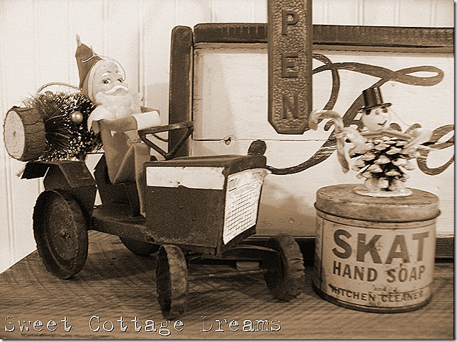 black and white santa on tractor