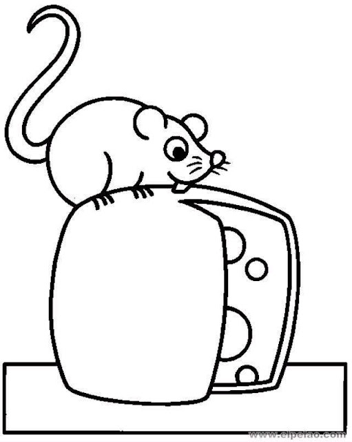 dibujo de raton con queso