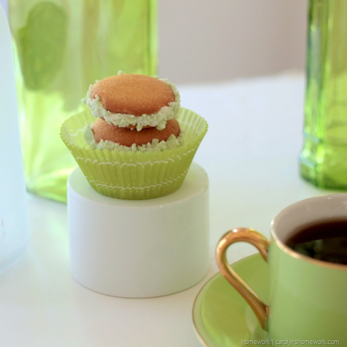 Vanilla Wafer St. Patrick's Day Cookies Whoopie Pies with Mint Chips and frosting