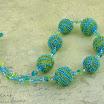 Бусы из бусин, оплетенных бисером. Голубые и зеленые.JPG