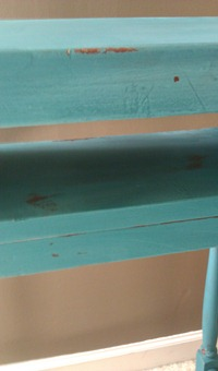 close up of painted desk