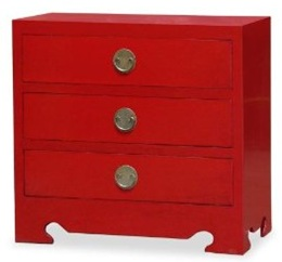 red ming style 3-drawer Chinese chest
