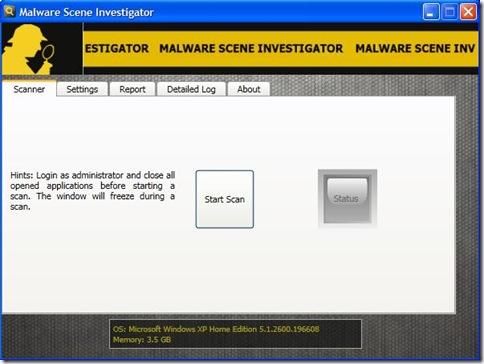 Malware Scene Investigator avvio scansione