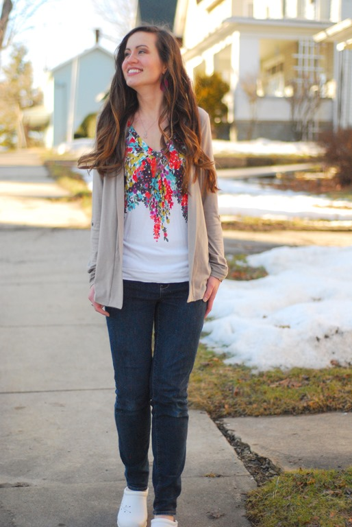 Floral Shirt, Cardigan, Jeans, Clogs