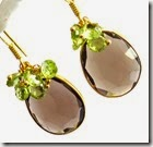 Smokey Quartz and Peridot Drop Earrings