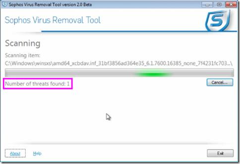 Sophos Virus Removal Tool numero delle minacce trovate