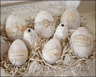 Easter Egg Carton with Shabby Chic Easter Eggs by Vintage with Laces