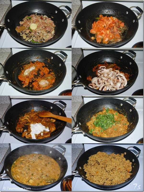 Mushroom briyani process
