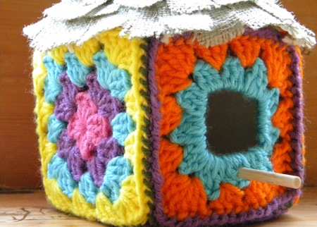 inspiration for home and life}: Sew and Tell: granny square birdhouse