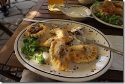 Lunch: Baked Pierogi stuffed with Hunter Sausage and Horseradish Sauce