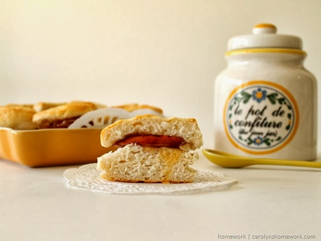 Chicken Hardwood Smoked Sausage Biscuit Bites via homework | carolynshomework.com