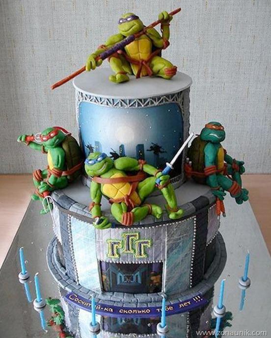 Model Kue ulang tahun berbentuk Kura-kura ninja