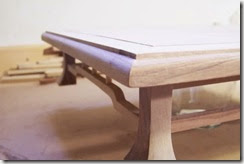 detalle de la esquina de la mesa terminada