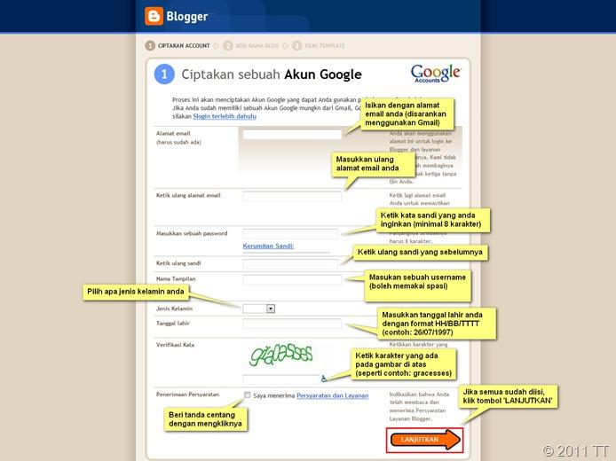 Mengisi Formulir Akun Blogger