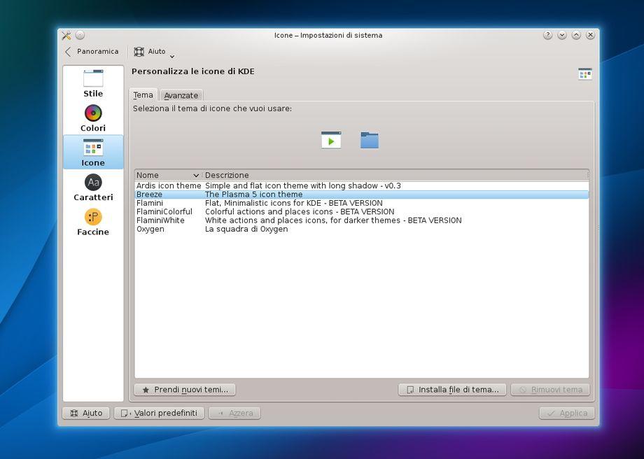 KDE Plasma Next Icons - Attivazione