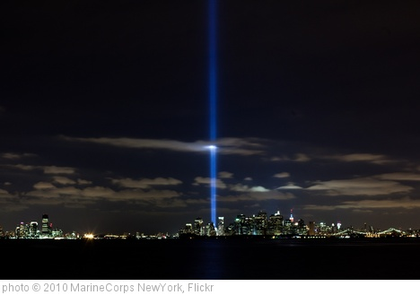'World Trade Center lights NYC sky on 9th anniversary of attacks' photo (c) 2010, MarineCorps NewYork - license: http://creativecommons.org/licenses/by/2.0/