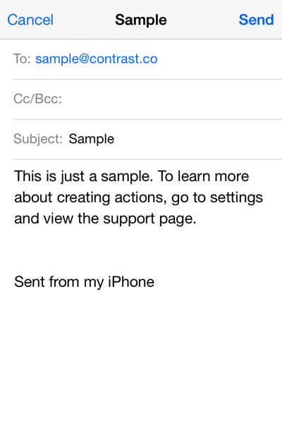 Sample Email message from Launch Center Pro
