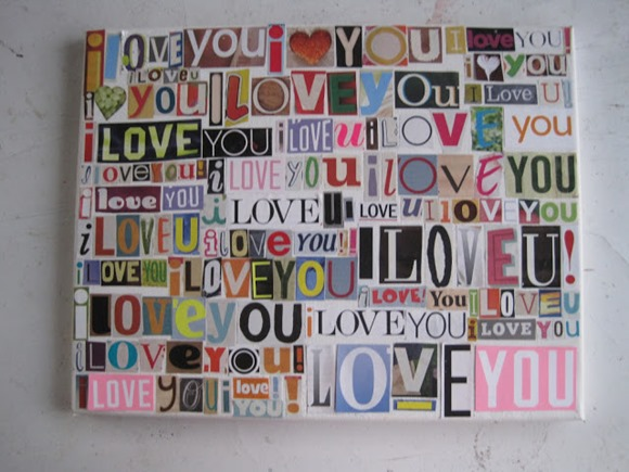 i love you decoupage collage
