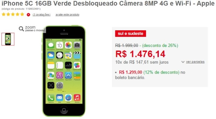 super oferta iphone 5c verde da alice