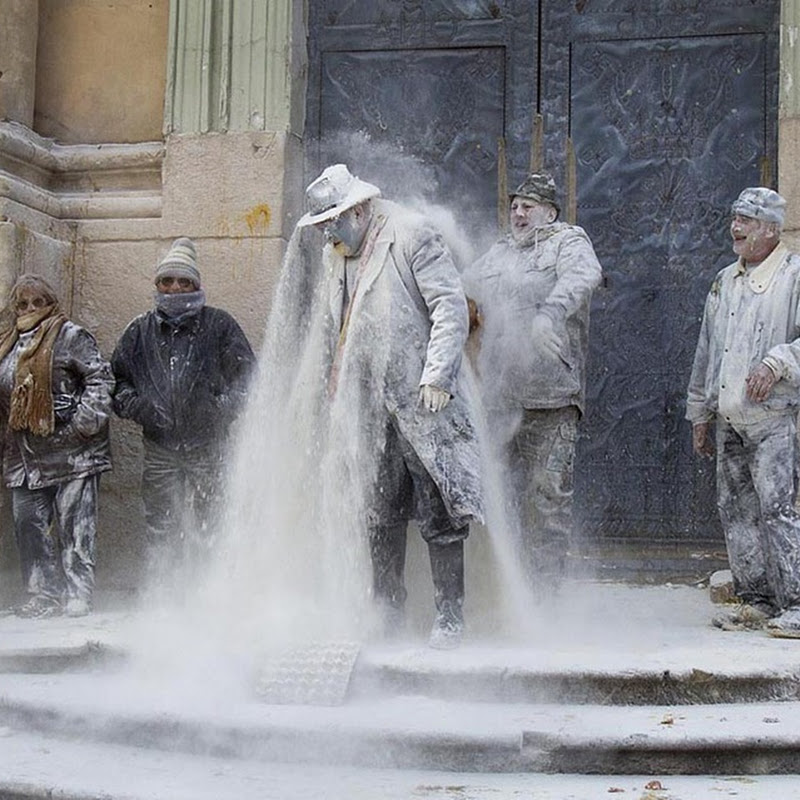 Spanish Festival of Els Enfarinats Celebrated With Flour Fight