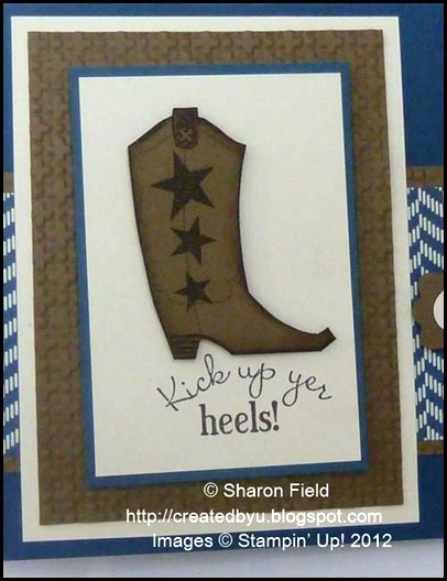stamped and sponged fussy cut boot image from bootiful occsions