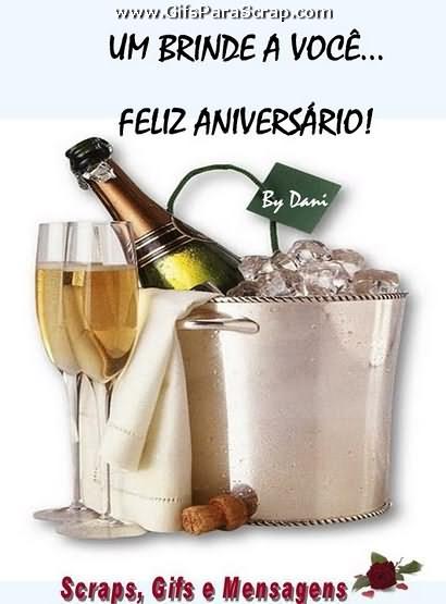Um brinde a você Feliz aniversário Champagne no ba