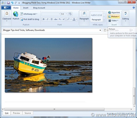 windows live writer adding picture