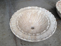 Floral Carved Round Vessel Sink Light Oriental Travertine Honed/Filled