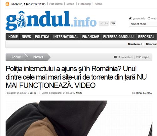 Poliţia internetului a ajuns şi în România  Unul dintre cele mai mari site-uri de torrente din ţară NU MAI FUNCŢIONEAZĂ. VIDEO - Gandul-111646
