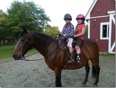 Katy and Taylor riding Lil&#39; Bud 2011 066