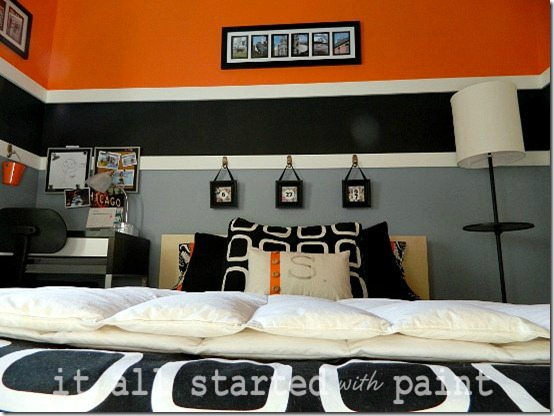 Teen room orange gray black Ikea Malm bed shot
