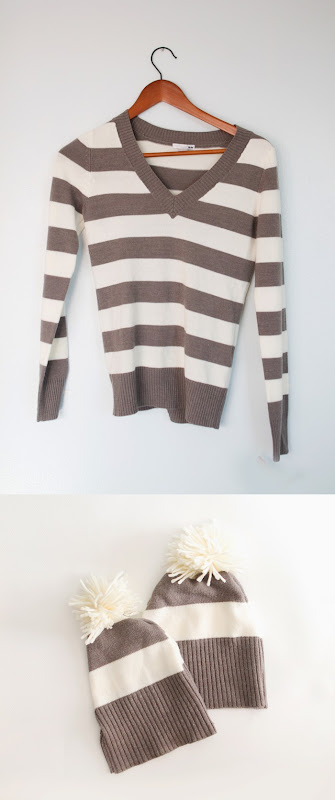 How to make a beanie from an old sweater, DIY hat from sweater, striped hat