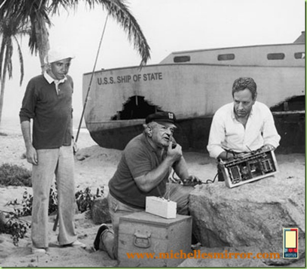 Circa 1966, American actors, left to right, Bob Denver, Alan Hale Jr. (1918-1990) and Russell Johnson attempt to use a homemade CB radio to contact civilization in a still from the television comedy show 'Gilligan's Island'. (Photo by CBS/Getty Images)