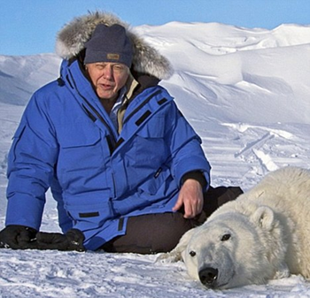 Sir David Attenborough on Arctic snow, with a tranquilized polar bear. Attenborough presents and authors the 'On Thin Ice' episode of 'Frozen Planet'. It looks at how the planet's ice is changing and what it means not only to the animals and people at the poles but also the rest of the planet. U.S. audiences will not be shown this episode, because it discusses the threat from global warming. BBC