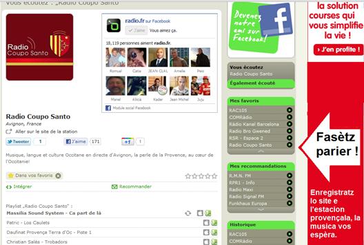 promocion de Ràdio Coupo Santo sul net per Radio.fr