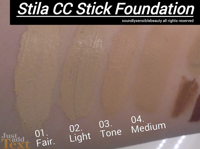 Stila CC Stick Color Correct Foundation SPF 20 Review & Swatches of Shades 01 Fair, 02 Light, 03 Tone, 04 Medium