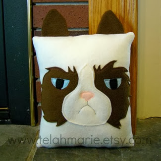 Grumpy Cat Felt Pillow by Heart Felt Designs