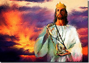 King Jesus Holding Hour Glass Measuring Time Left