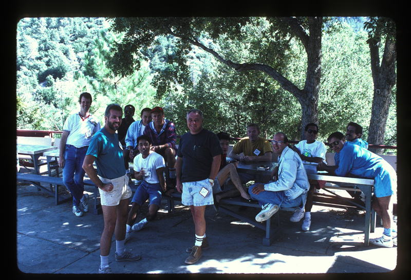 Asian/Pacific Lesbians and Gays (A/PLG) retreat group picture with Milt Owens (center with black shirt). Undated.