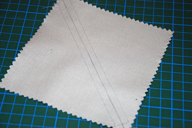 after sewing diagonally